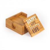 "Square Bamboo Coaster  (4/pkg) 3.82"" x 3.82"" x.33"""