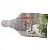 """Wine Bottle 14"""" x 7-3/8"""" Glass Cutting Board With White Bottom"""