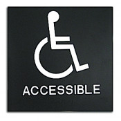 "Rowmark Presto Black 8"" x 8"" Handicap Accessible Ready Made ADA Sign"