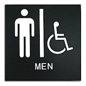 Rowmark Presto Black Mens Handicap Accessible Restroom Ready Made Sign