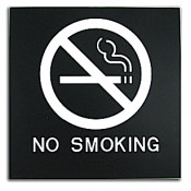 "Rowmark Presto Black 8"" x 8"" No Smoking Ready Made ADA Sign"
