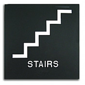 "Rowmark Presto Black 8"" x 8"" Stairs Ready Made ADA Sign"