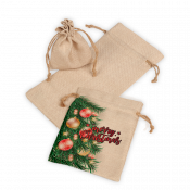 Faux Burlap Drawstring Bag