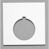 """Satin WHT/BLK 2-1/4"""" x 2-1/4"""" Plastic Push Button Plate 1-7/32"""" Hole"""