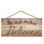 """Light Faux Wood 4.5"""" x 10"""" Hanging Sign"""