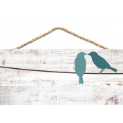 "White Faux Wood 4.5"" x 10"" Hanging Sign with Pre-Printed Bird Art"