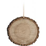 "Wood 3.5"" x 3.75"" Faux Sliced Log Ornament"