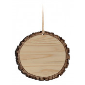 "Dark Wood 3.5"" x 3.75"" Faux Sliced Log Ornament"