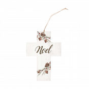 Cross Ornament with Pine & Berries