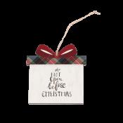 White Faux Wood Gift Box Ornament