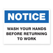 JPPLUS Wash Hands Returning to Work Ready Made Sign