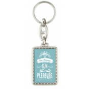 "Punch N Press Silver 1.18"" x 1.93"" Rectangle Key Chain with Rope Edge (2-Sided)"