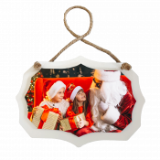 """5.75"""" x 4"""" Wooden White Benelux Ornament with Sublimatable Plate"""