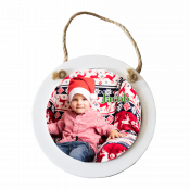 """4.8"""" x 4.8"""" Wooden White Circle Ornament with Sublimatable Plate"""