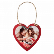 """5.5"""" x 5.6"""" Wooden Red Heart Ornament with Sublimatable Plate"""