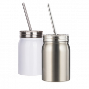 17oz White Stainless Steel Mason Jar with Lid and Straw