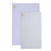 White Microfiber Velour Towel with Grommet and Hook