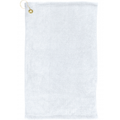"White 16"" x 25"" Microfiber Scrubber Towel with Grommet and Hook"