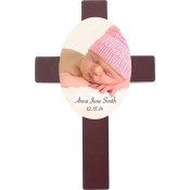 "Unisub Cherry 7"" x 11"" Cross Plaque with Hardboard Tile"