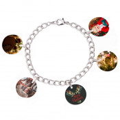 """Unisub 7"""" Charm Bracelet with Five 3/4"""" Round Charms and Bales"""