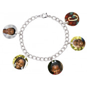"Unisub 7"" Charm Bracelet with Five 3/4"" Round Charms and Bales"