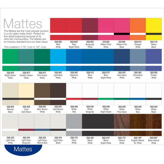 Rowmark Mattes Swatch Book Page