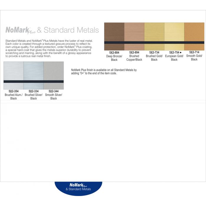 Rowmark Standard Metals Swatch Book Page